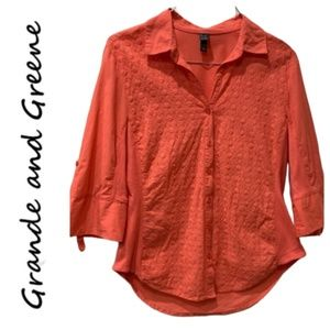 Grand & Greene Eyelet Lace Button Up Blouse M
